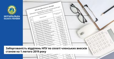 Заборгованість відділень НПУ по сплаті членських внесків станом на 1 лютого 2019 року