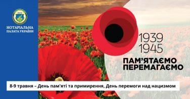 8-9 травня – День пам'яті та примирення, День перемоги над нацизмом