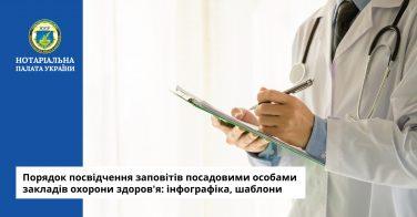 Порядок посвідчення заповітів посадовими особами закладів охорони здоров'я: інфографіка, шаблони