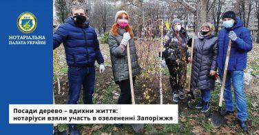 Посади дерево – вдихни життя: нотаріуси взяли участь в озелененні Запоріжжя