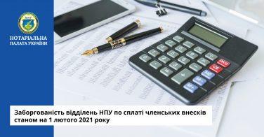 Заборгованість по сплаті членських внесків станом на 01 лютого 2021 року